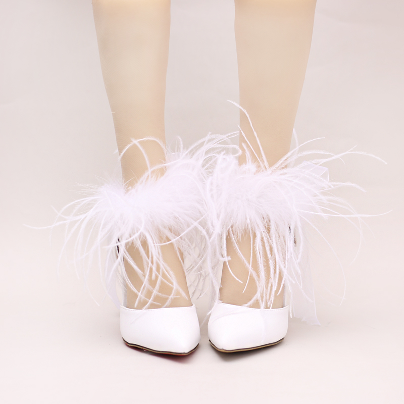 Wedding Bridal Heels: White Pointed Toe Ultra Thin Heels High Heels Wedding