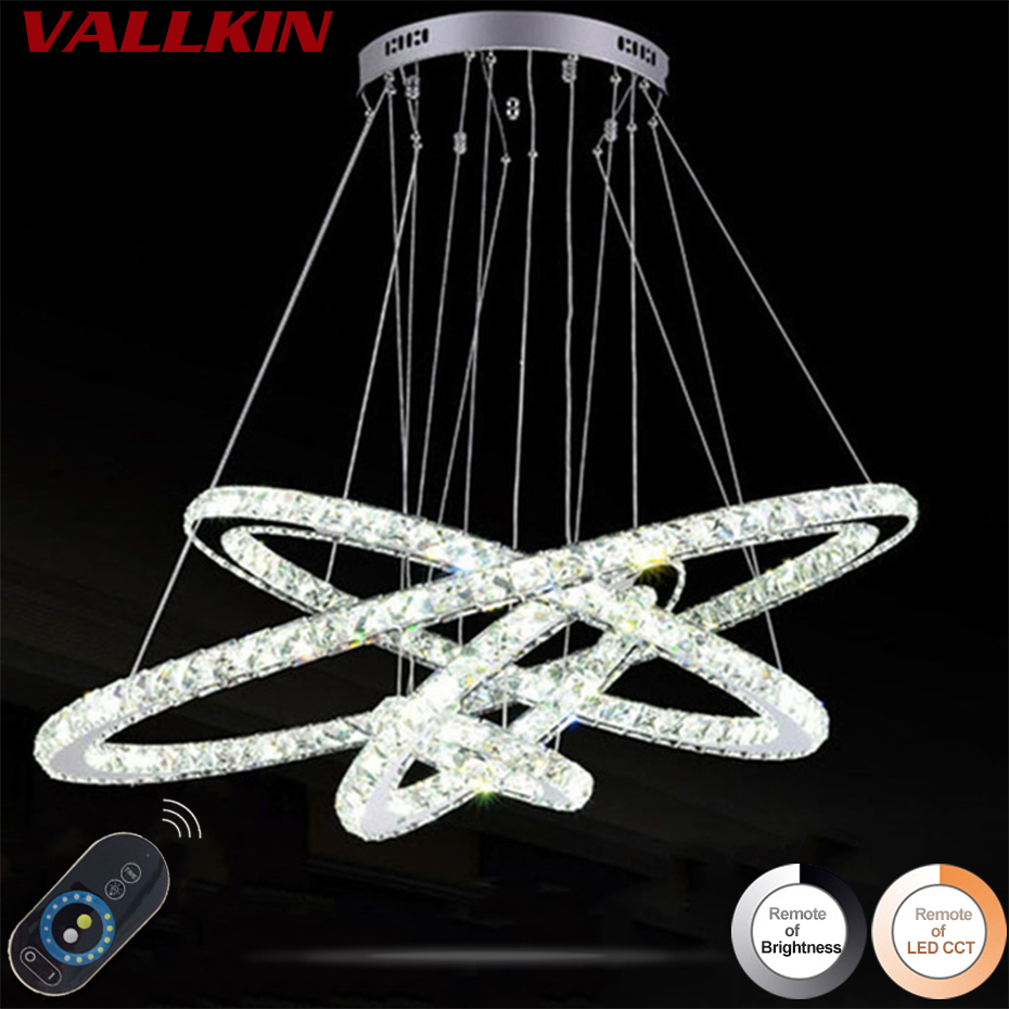 DIMMABLE LED K9 Crystal Chandelier Pendant Lamp 4 Rings Chandeliers Lamps Indoor Fixtures for Dining Room Living Room Hotel