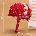 Hand Made Top quality Luxurious Brooch bride Bridal wedding bouquet brides maid Europe US RED rose pearl Artificial flower 8565s