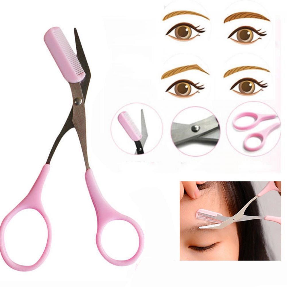 Tools Girl Lady Pink Eyebrow Trimmer Eyelash Thinning Shaving Comb Eyelash Hair Clips Scissors Shaper Eyebrow Grooming Cosmetic Tool Comfortable And Easy To Wear