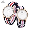 UWOOD Couple Quartz Watch Japan Movt Lovers' Wood Watches Men Women Nylon Band Wooden Case Wristwatch