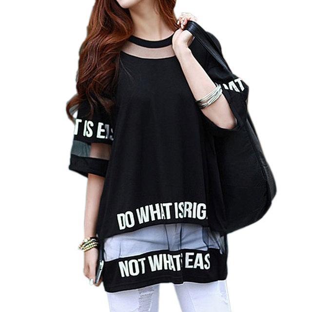 2017 Más Tamaño Camiseta Tops Mujer Del Verano de la Media Manga Fashion Hollow Out Larga Impresa Letra Mesh Tops Mujer Camiseta Tees