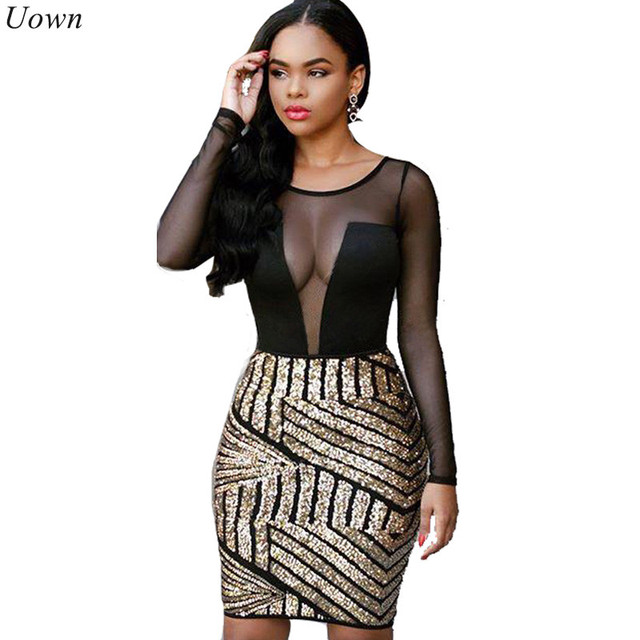 Doyerl Women Mesh Black Sequin Dress Sexy Sheer Patchwork See ...