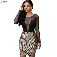 Uown Women Mesh Black Sequin Dress Sexy Sheer Patchwork See Through Long Sleeve Bodycon Glitter Sparkly