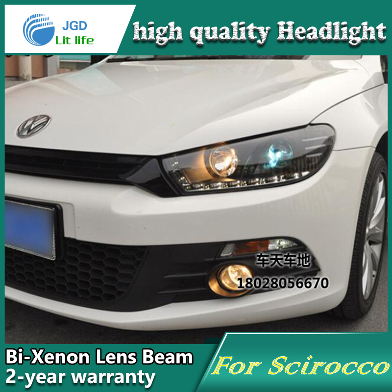 high quality Car Styling Head Lamp case for VW Scirocco LED Headlights DRL Daytime Running Light Bi-Xenon HID Accessories car rear trunk security shield cargo cover for volkswagen vw tiguan 2016 2017 2018 high qualit black beige auto accessories