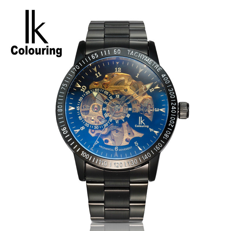 ФОТО 2017 IK Coloring Casual Watches Men's Reloj Hombre Skeleton Dial Auto Mechanical Wristwatch Original Box Free Ship