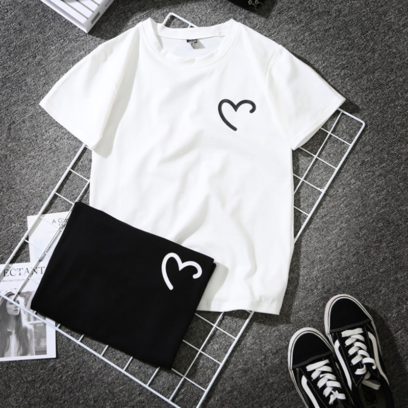 Funny Heart Print Summer T-Shirt Women Black White Short Sleeve T-shirt Femme Harajuku Streetwear