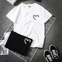 Lustige Herz Druck Sommer T-Shirt Frauen Schwarz Weiß Kurzarm T-shirt Femme Harajuku Streetwear
