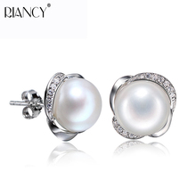 Fashion Pearl Earrings Natural Freshwater 925 Sterling Silver stud Jewelry For Woman Gift