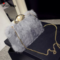 Faux Fur Chain New Women Shoulder Bags Winter Fashion Party Flap Messenger Crossbody Bag Bolsa Feminina