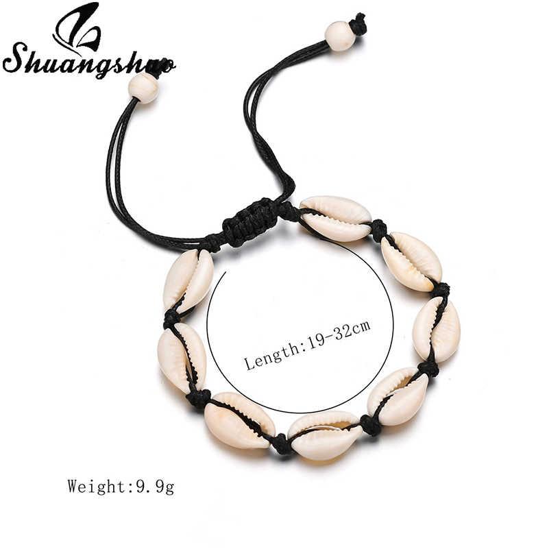 Shuangshuo Fashion Wish Sea Shells Bracelets Bangles Black Rope Chain Bracelet Women Casual Handmade Summer Sea Beach Jewelry