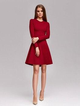 fa58b7532 Verano otoño vestido 2019 casuales de las mujeres Vestidos de manga larga  o-Cuello Borgoña púrpura vestido de oficina vestido Vestidos