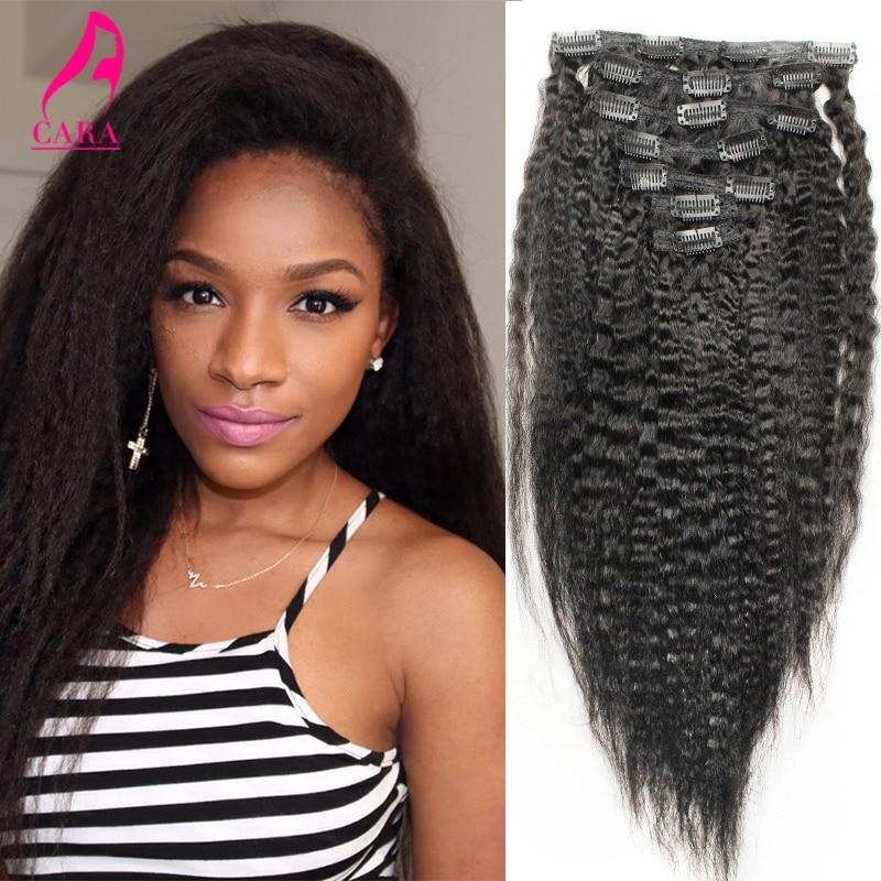 Indian Virgin Hair Clip In Human Hair Extensions Kinky Straight 10″-26″ Indian Human Hair Clip Ins Italian Coarse Yaki