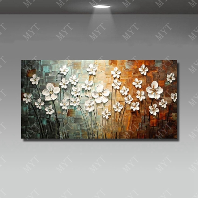 Flower painting art oil painting hand painted simple design canvsa oil painting for home sense decor
