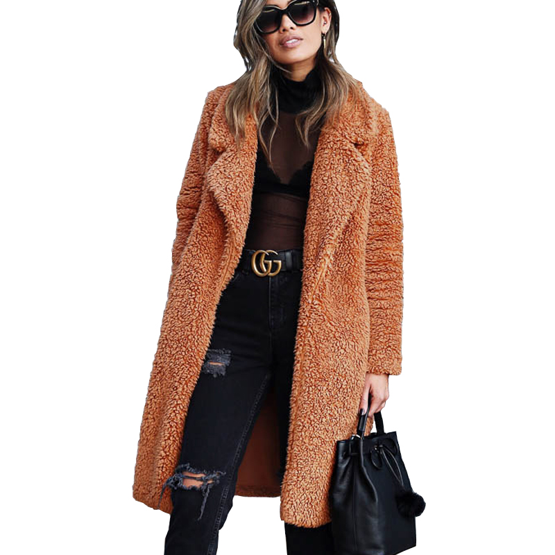 3XL Plus Size Lambswool Loose Women   Trench   Coat Winter Warm Fur Coat Winter Open Stitch Long Fluffy   Trench   Overcoat Outerwear