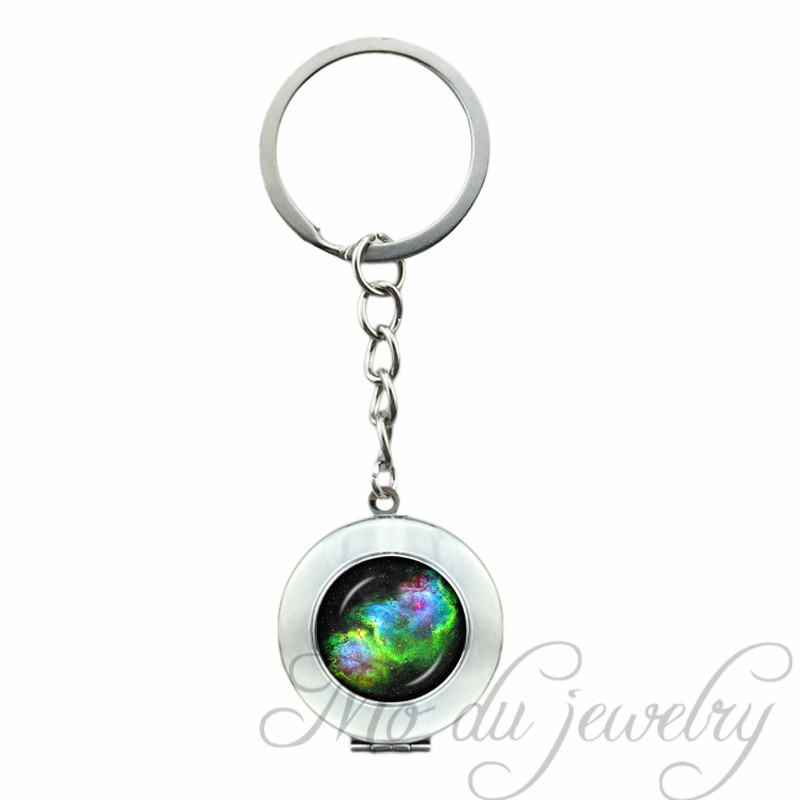 Green Blue Black Galaxy Locket Pendant Solar System Planets Key Chain Nebula Space Key Chains Millky Way Stars Keychain Jewel ...