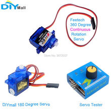 Feetech FS90R 360 Degree Continuous Rotation Servo DIYmall 180 Tester for Arduino Smart Car Robot RC Drone