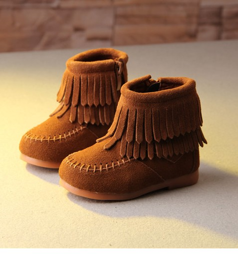 Childrens shoes boots children 1-2345 - year - old baby girl tassel single girl boots shoes fashion boots