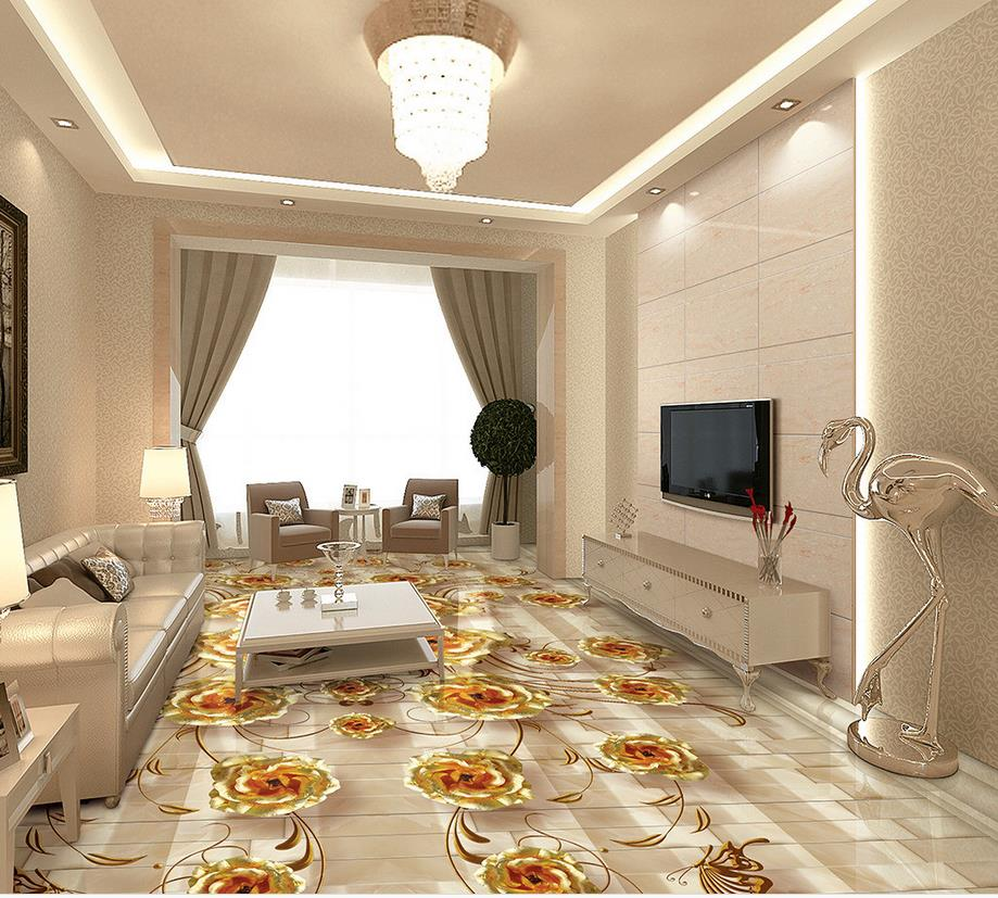 Gold rose marble 3d floor pvc wallpaper 3d floor wallpaper for Decoration maison rose gold