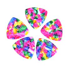 Lots of 100 pcs Rounded Triangle Big Size Medium 0.71mm Celluloid Guitar Picks Tie-dye