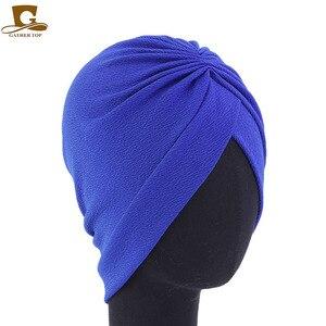 Image 3 - Novo muçulmano Mulheres elástico macio Crânio Gorros Headwear Quimio Turbante Chapéu Cachecol Quimioterapia Para O Cancro da Perda de Cabelo Acessórios