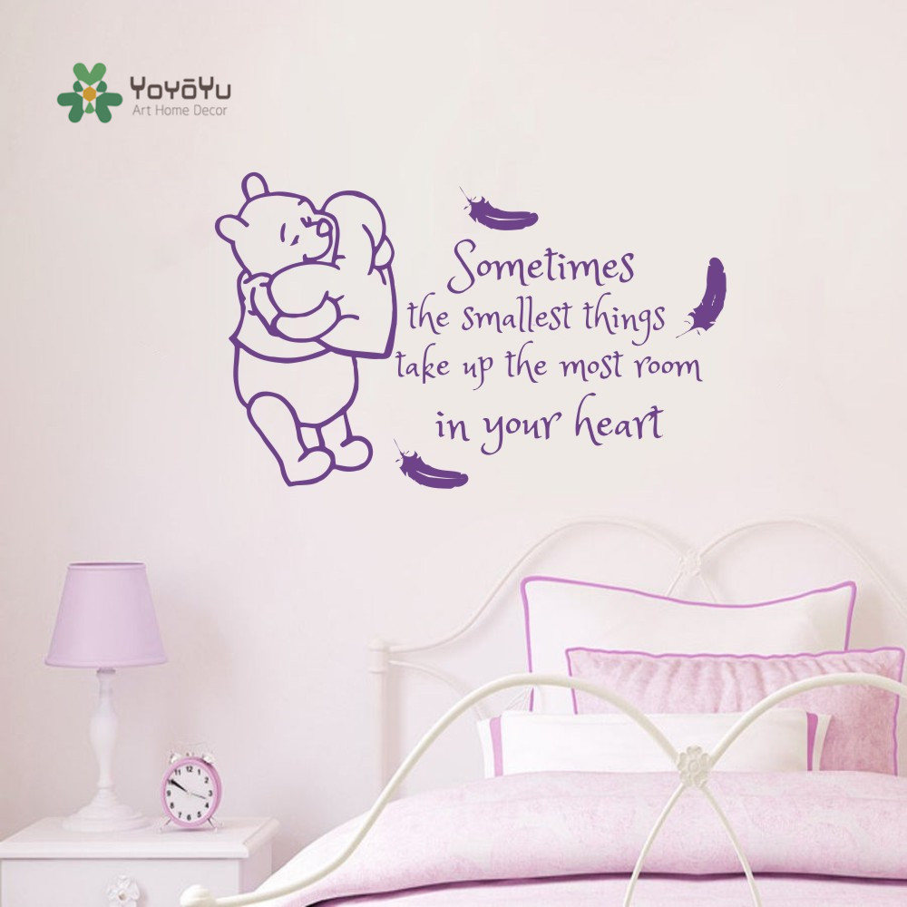 Kids Room Decal Winnie Pooh Feathers Quotes Vinyl Sticker Quote