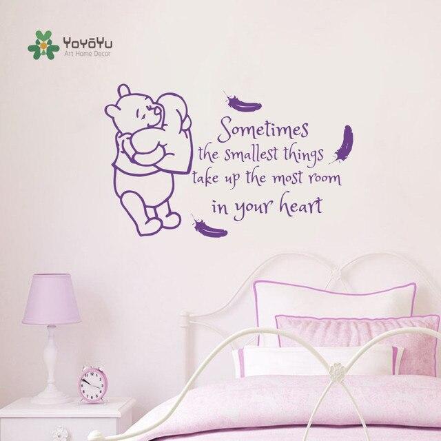 Us 68 20 Offkinder Zimmer Aufkleber Winnie Pooh Federn Zitate Vinyl Aufkleber Zitat Baby Kindergarten Decor Kinder Schlafzimmer Wand Aufkleber Diy