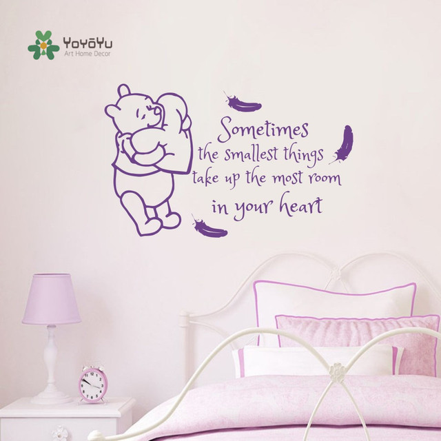 kinderkamer decal winnie pooh veren quotes vinyl sticker quote baby nursery decor kids slaapkamer muursticker diy