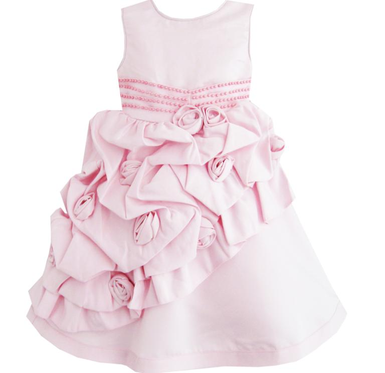 Girls Dress Pink Flower Trimmed Wedding Children Clothes 2017 Summer Princess Party Dresses Kids Clothes Size 12M-5 Pageant girls dress 2017 new summer flower kids party dresses for wedding children s princess girl evening prom toddler beading clothes