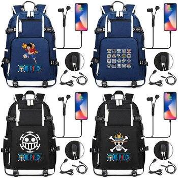 Una pieza Monkey D LEY DE Luffy cráneo Anime Mochila bolsos para libros Puerto USB bolsas portátil escuela viaje chicas chicos Mochila regalo