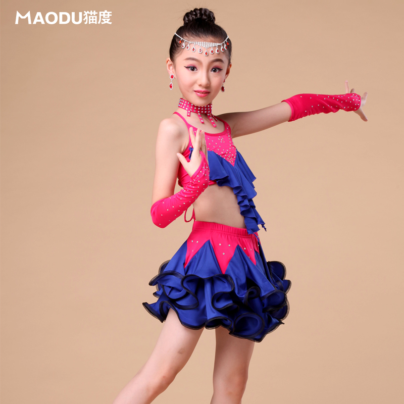 Brand MAODU Children Latin Dance Skirt+Tank top Bling Diamond Professional Costumes Lacing Girls Dance Suits white,pink,red