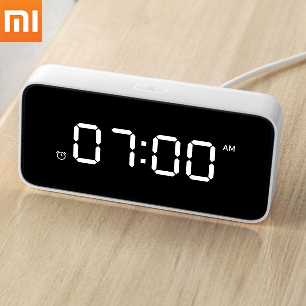 In Stock!!Xiaomi Xiaoai Smart Alarm Clock Voice Broadcast Clock ABS Table Dersktop Clocks AutomaticTime Calibration Mi Home App