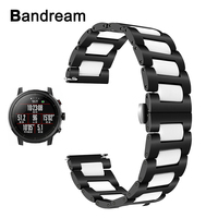 20mm 22mm Ceramic + Stainless Steel Watchband for Amazfit 1 / 2 / 2S Xiaomi Huami Bip Pace Quick Release Watch Band Wrist Strap