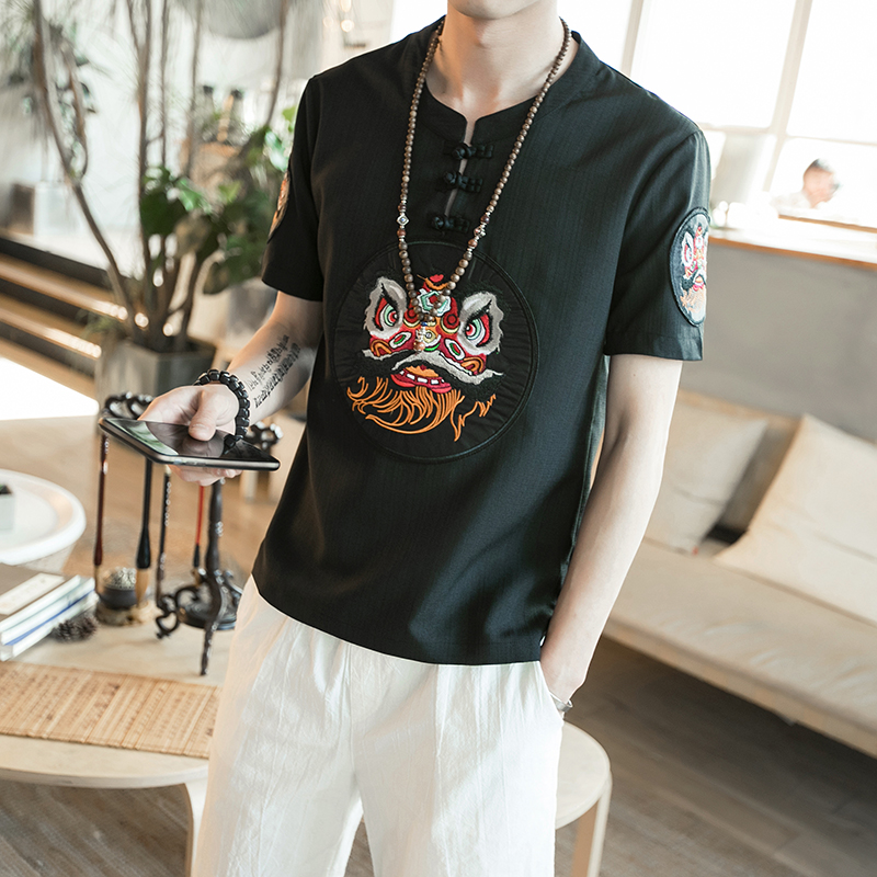 Chinese Style Summer Men T Shirts 2018 New Short Sleeve Embroidery T-Shirts Mens Pan Kou Design Casual Plus Size Tee Shirt Homme
