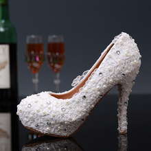 Hot style fashion rhinestone beaded lace flowers sweet breathable wear waterproof non-slip odor-proof sexy female wedding banque