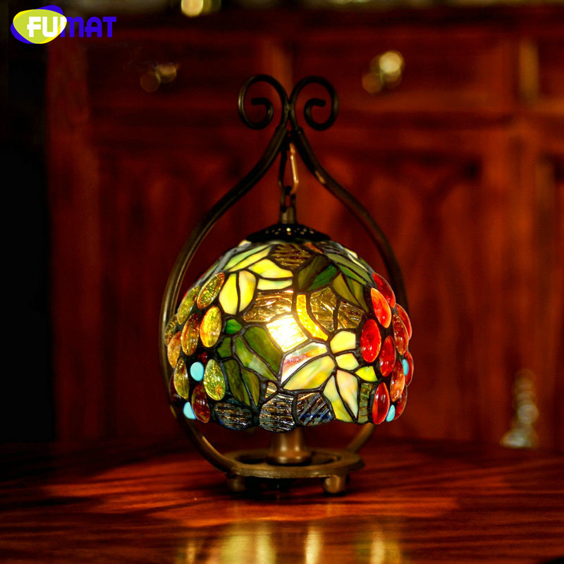 FUMAT Stained Glass Lamp Bedside Small Table Lamp Rose Grape Glass Art  Shade Desk Lamp Hotel