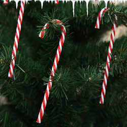 6Pcs/Lot Candy Crutch Pendant Christmas Tree Decor Hanging Ornament For New Year Xmas Party Striped Candy Cane Sticks Kids Gift 2