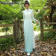 2019 vietnam ao dai chinese traditional clothing long chinese cheongsam dress robe vietnamese aodai dress 2019 summer white woman aodai vietnam traditional clothing ao dai vietnam robes and pants vietnam costumes improved cheongsam