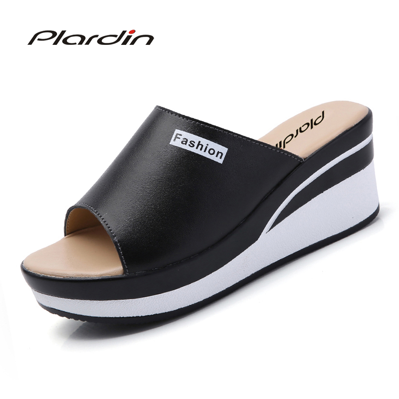 Plardin 2018 Bohemia Summer Print Casual Women's Flip Flops Platform wedges Casual Comfortable Flat Sandals Bach Flip Flops plardin bohemia summer casual women wedges flat sandals platform 2018 woman ladies beach shoes flip flops genuine leather shoes
