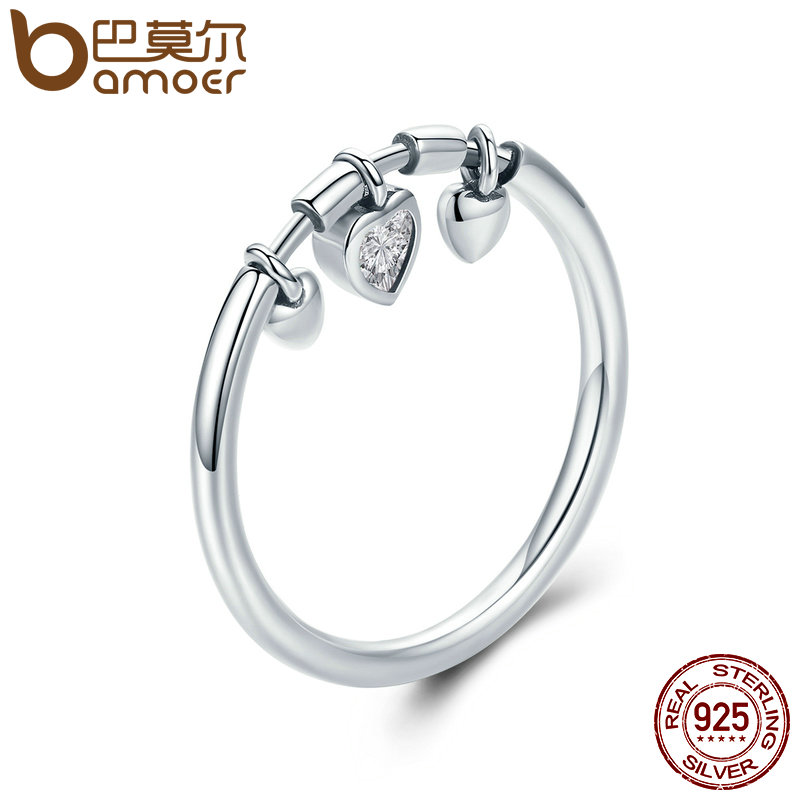 BAMOER New Arrival 925 Sterling Silver Glittering Heart Clear CZ Anel Female Ring Women Wedding Engagement Jewelry SCR215