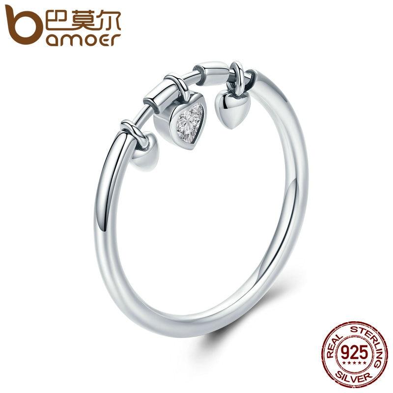 Bamoer Новое поступление 925 серебро сверкающие сердце Ясно CZ Анель женский кольцо Для женщин свадебные Обручение Jewelry scr215