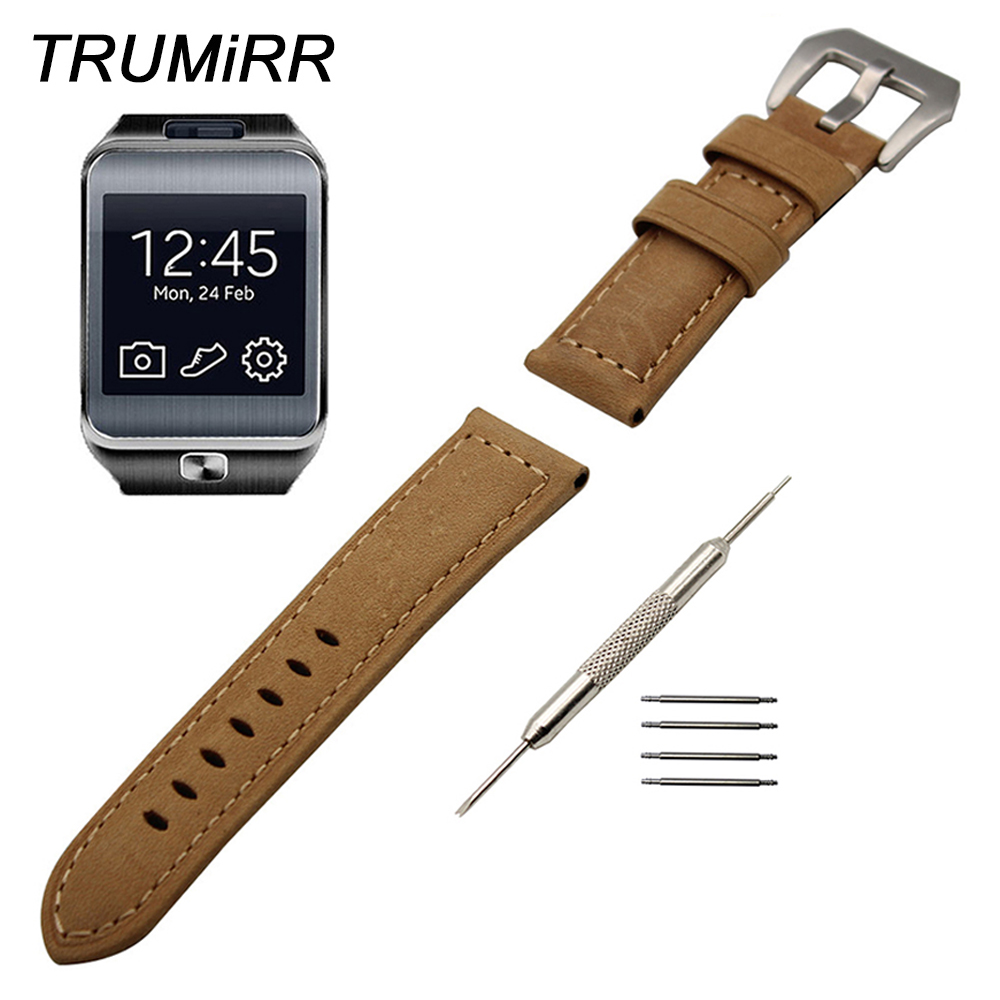 22mm Genuine Calf Leather Watch Band for Samsung Gear 2 R380 Neo R381 Live R382 Wrist Strap Stainless Steel Tang Buckle Bracelet cowhide genuine leather watch band 22mm for samsung gear 2 r380 r381 r382 quick release strap wrist belt bracelet