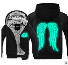 Excessive-Q noctilucent The Strolling Useless Daryl Dixon Wing hoodies jacket Luminous Daryl Dixon lovers Cardigan Hoodies jacket coat