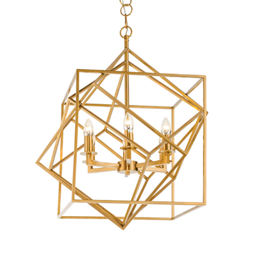 New modern square stainless steel golden chandelier luxury living room led light fixture E14 lustres high quality home lighting kcchstar the eye of god high quality 316 titanium steel necklaces golden blue