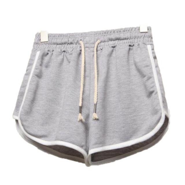 Korea Loose High Waist Sports Shorts Women's Running Wide Leg Drawstring Elastic Casual Home Slim Shorts Summer