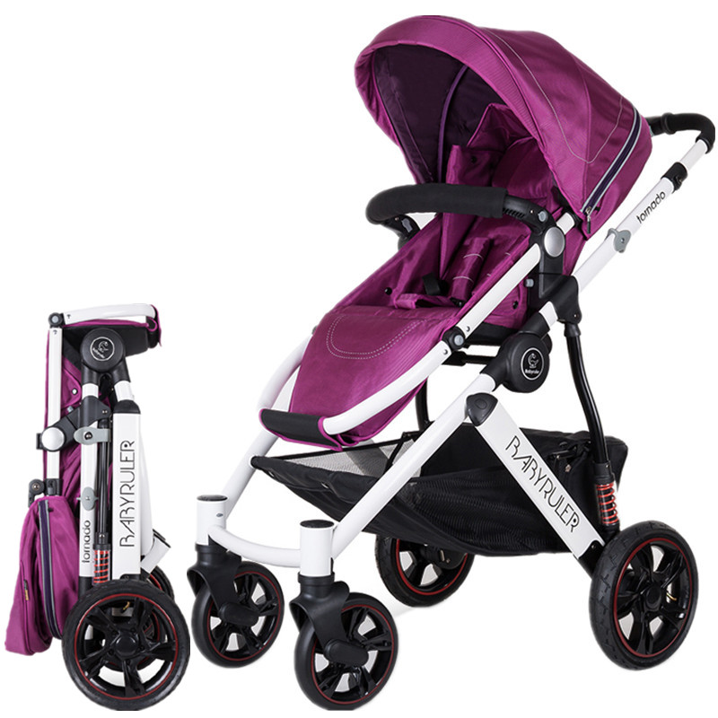 Four Wheels Baby Stroller For Dolls High Landscape Baby Carriages For Newborns Folding Prams ...
