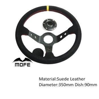 Oferta especial de carrera de MOFE, volante con Logo Original de cuero de ante y aluminio con plato profundo de 350mm para coche deportivo y botón de bocina