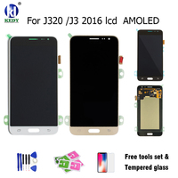100 Tested LCD Display With Touch Screen Digitizer Replacement AMOLED For Samsung Galaxy J3 2016 J320