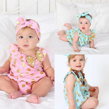 2016 New Newborn Baby Girls Clothes Bodysuits Polka Dot Jumpsuit Headband Bow Outfit Sunsuit Bodysuit New Clothing Summer