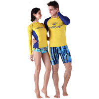 SABOLAY Lovers Swimsuit Split Long Sleeved Sunscreen Clothing Diving Suit Beach Clothes